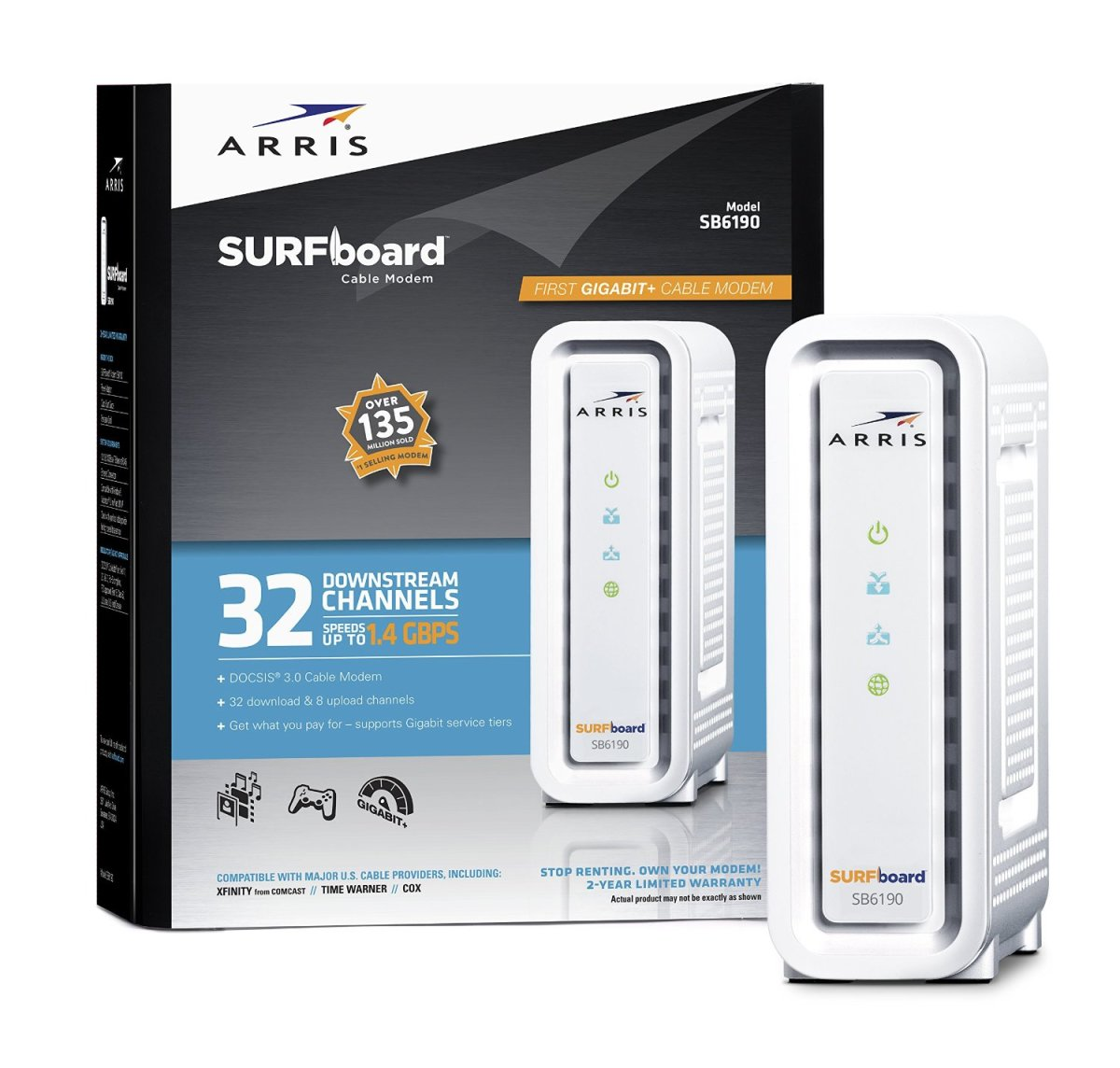 The Arris SB6190 DOCSIS 3.0 is the latest and fastest cable modem in the market today