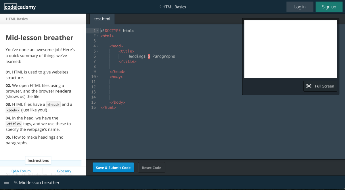 Codecademy's Learning Interface