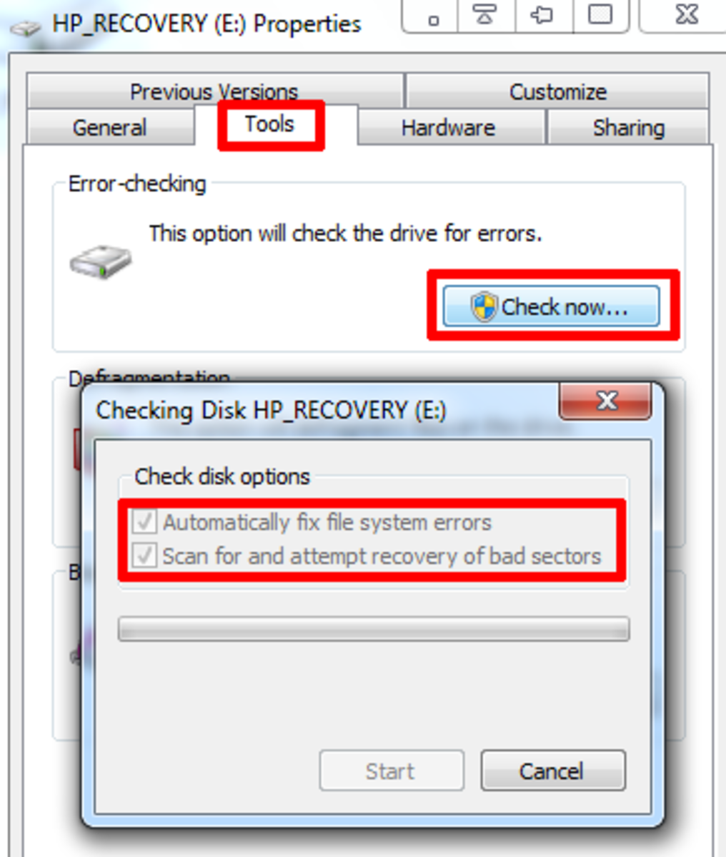 A quick example of how to check for and attempt to repair bad sectors in Windows 7