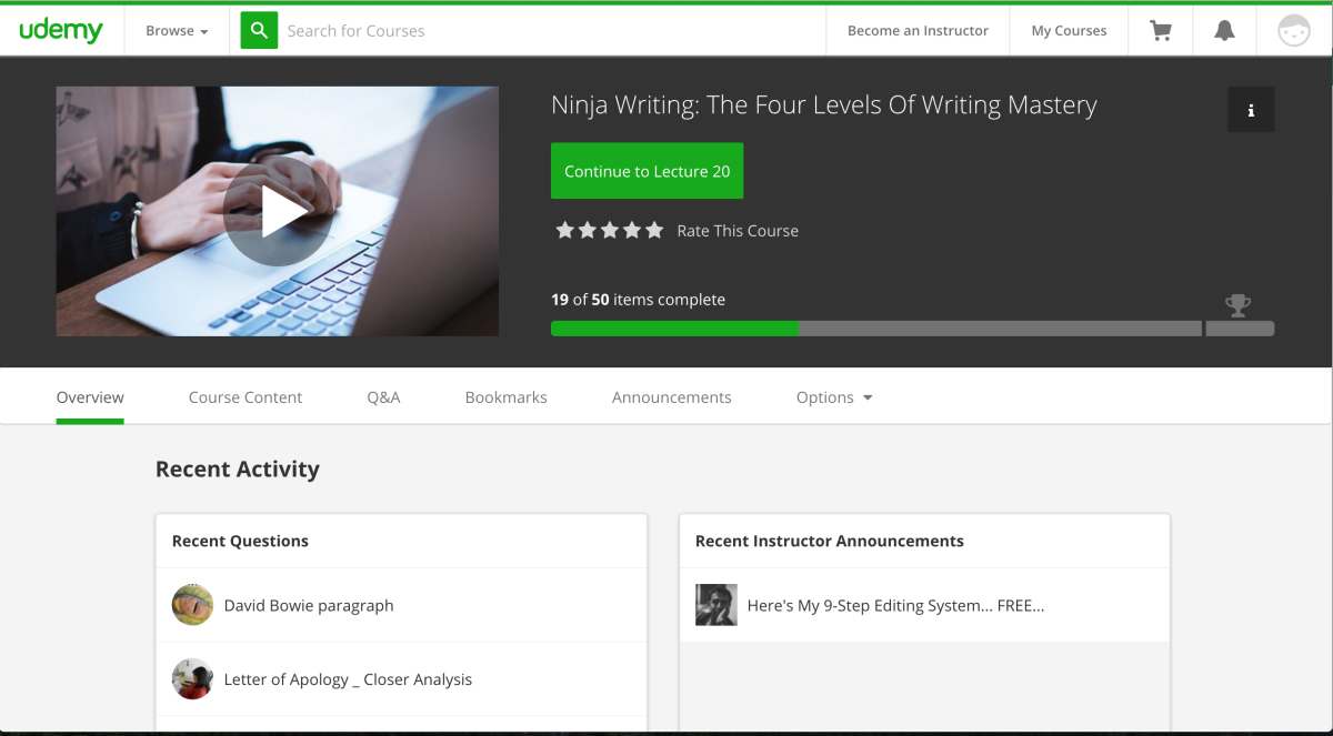 Udemy's Course Dashboard