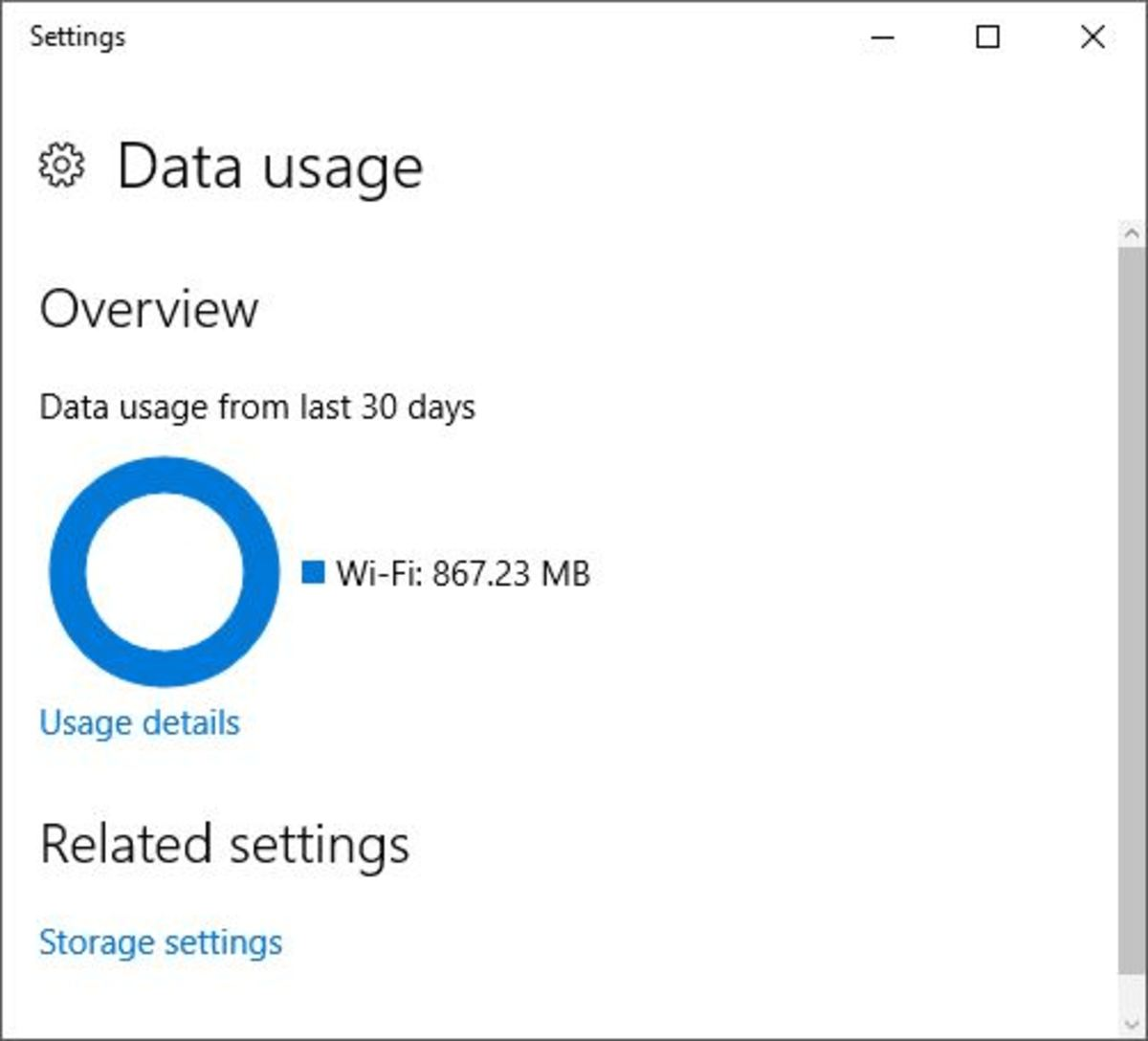 Windows 10 keeps track of how much data has been used in the past 30 days, or since you last connected to a your wireless router, or connected via Ethernet.