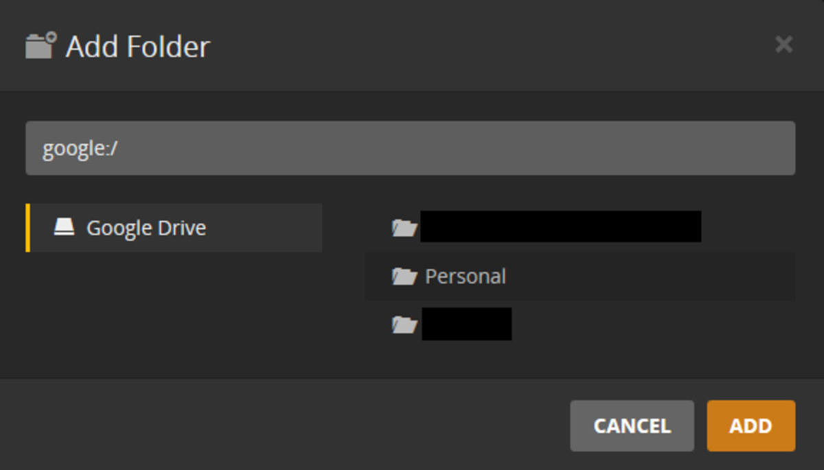 "Choose the folders in your Google Drive account you want to add to Plex Cloud, and then click ""Add."""