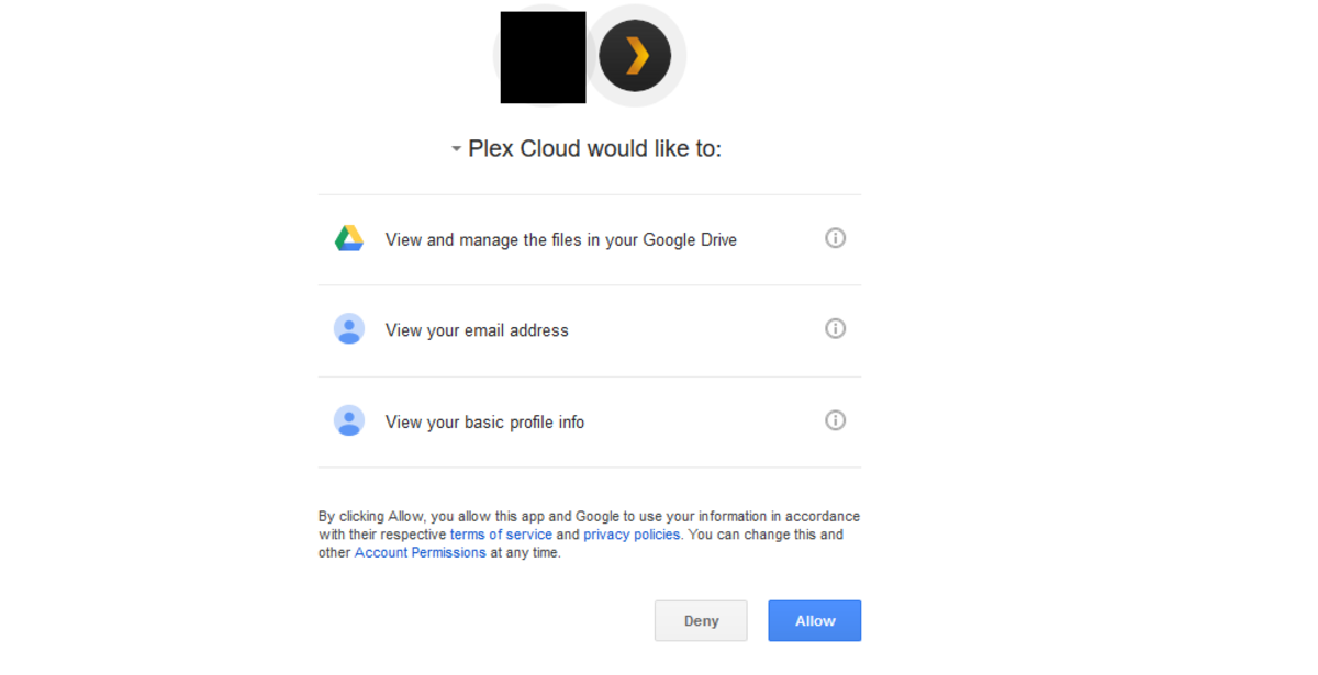 "Choose ""Allow"" to give Plex access to your Google Drive account."