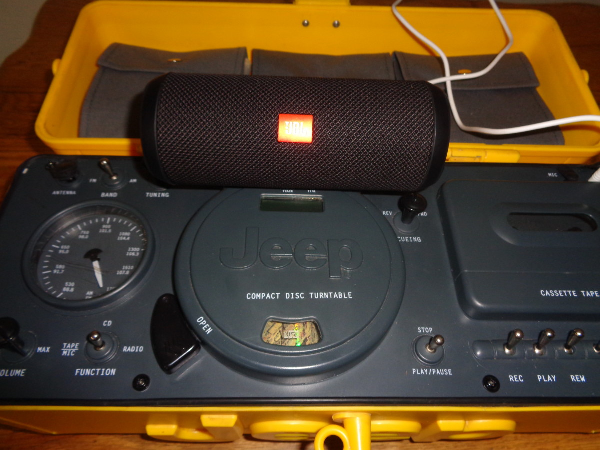 The TeleMania Jeep Boombox used with my Bluetooth speaker which I line out from the headphone jack. Because of the weak speakers this is how I like to use the boombox.