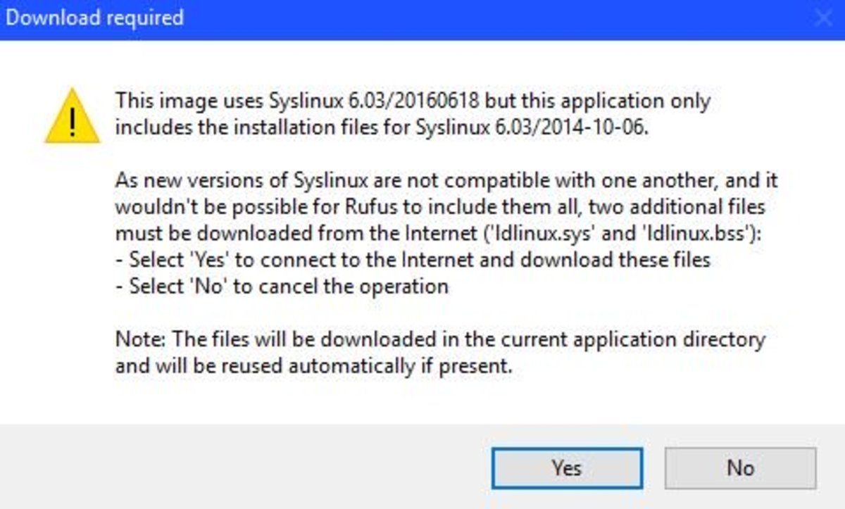 "Choose ""Yes"" if you get a prompt that you need to download additional Syslinux files."