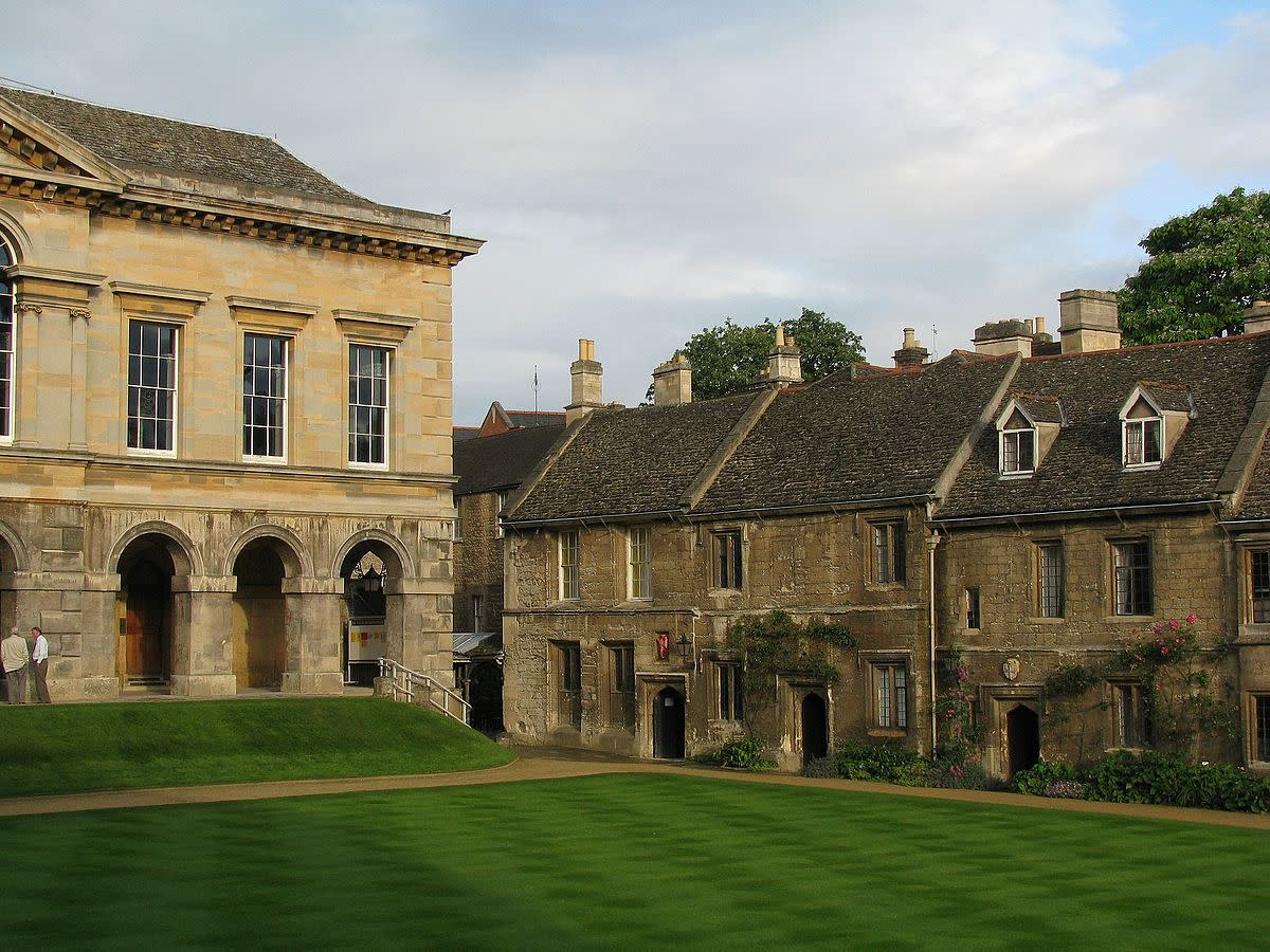 Eastern and southern sides of main quad, Worcester College, Oxford, England, UK.