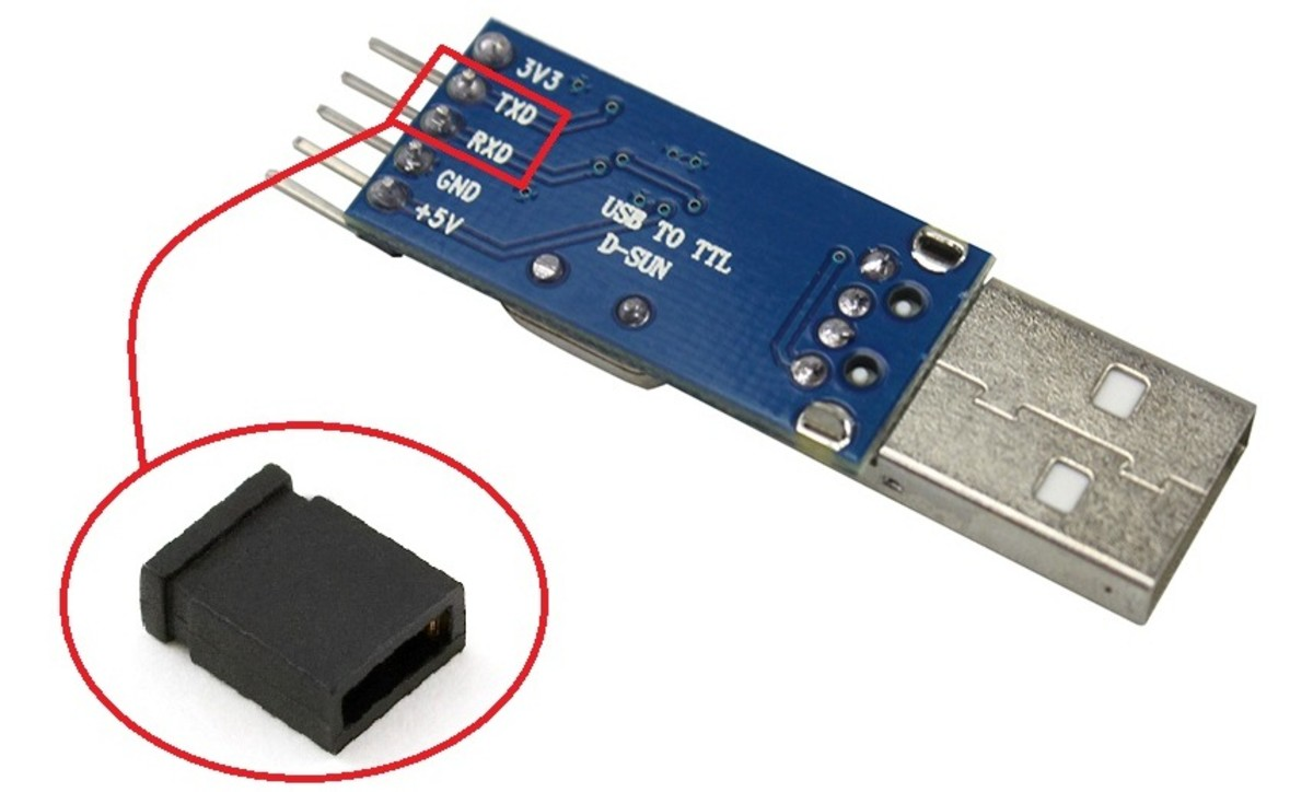 Short the TX and RX pins with a jumper or wire to test the module.