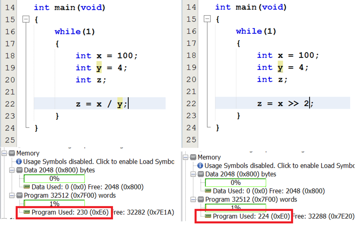 Using a right shift operator in place of a division instruction. (Click to see a clearer image.)