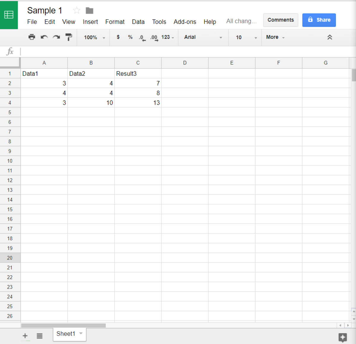 Spreadsheet screen