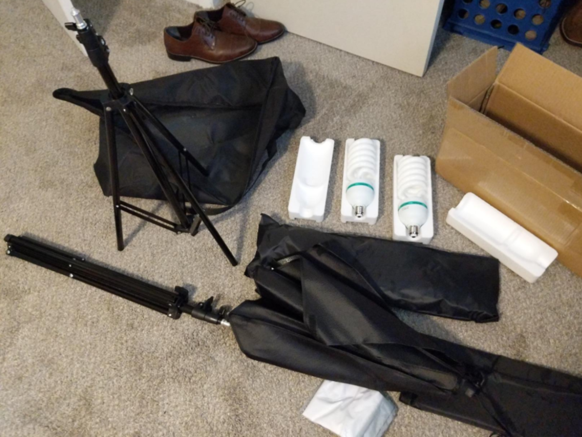 Inexpensive and easy to setup and take down this softbox lighting kit goes with me everywhere.
