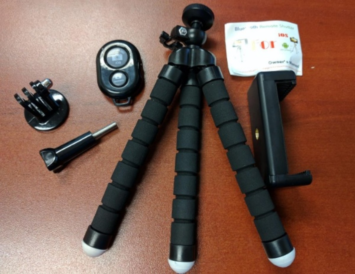 The UBeesize tripod has octopus style legs you can use to mount it just about anywhere. The remote allows you to step back away from your phone and control it from up to 30 feet away.
