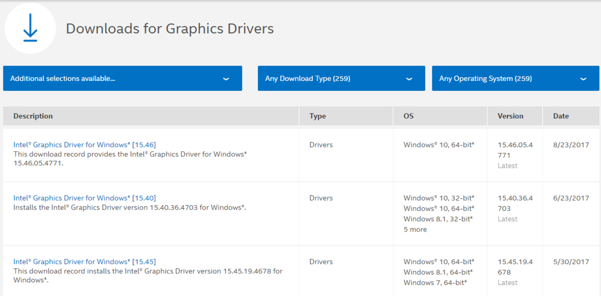 Intel driver page.