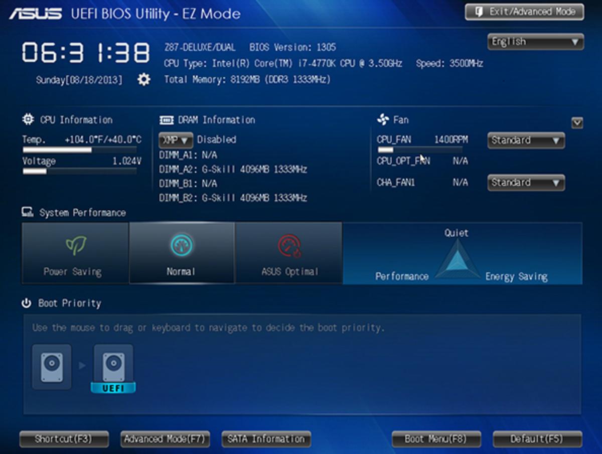 UEFI setup utility.
