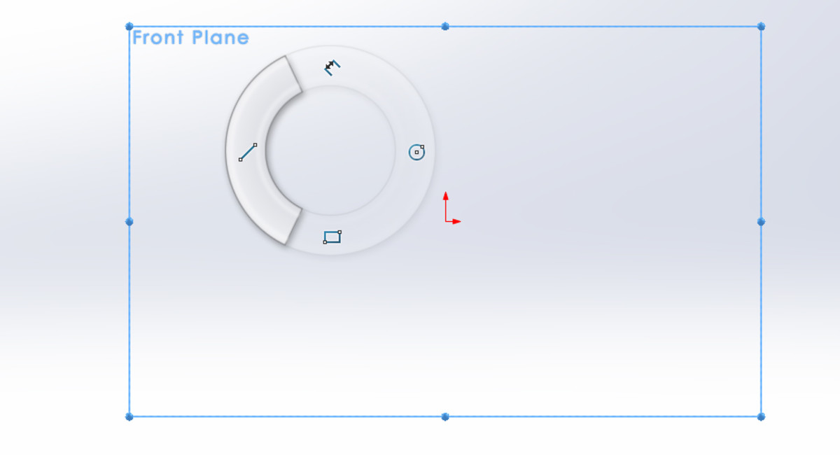 Line tool selected from the right-click work-space contextual menu