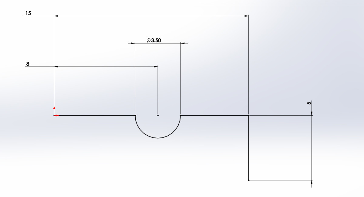 Vertical line placed and dimensioned