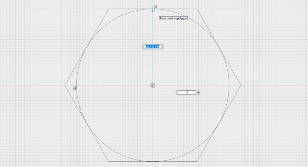 Setting the radius of the circumscribed polygon