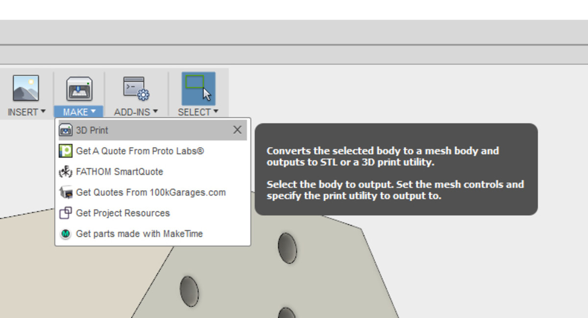 Now we can move on to 3D printing. So click on the Make drop-down and then click 3D Print.