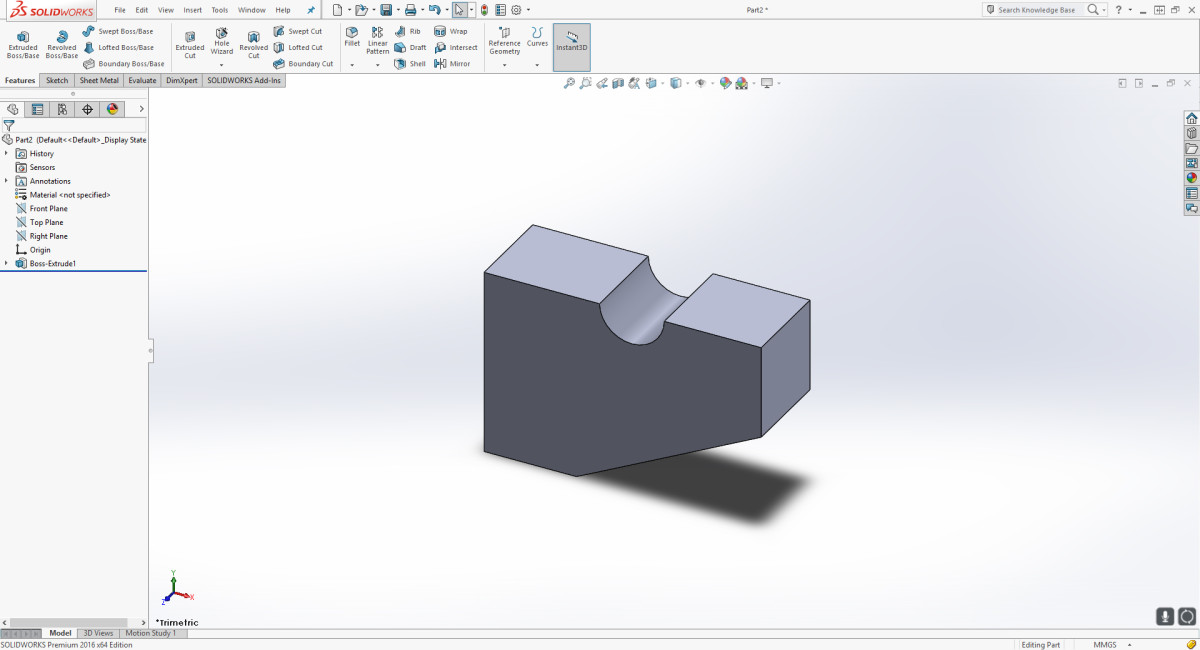 The part successfully extruded