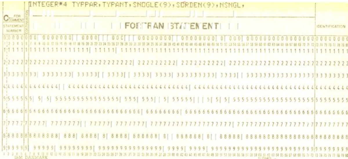 Punched card as part of a FORTRAN IV program