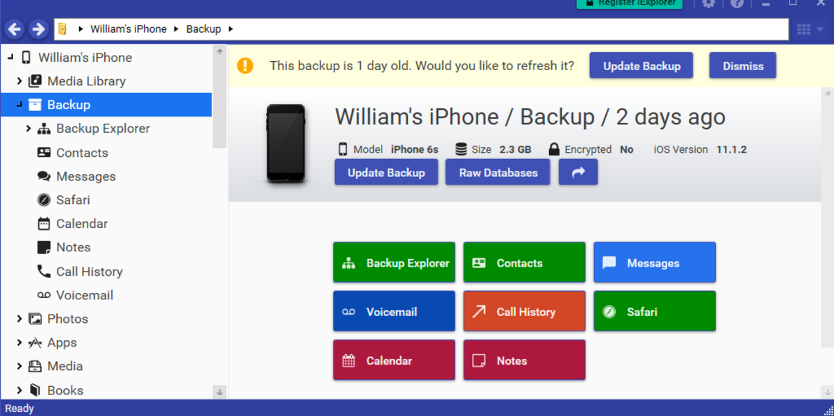 Find the most recent backup of your device