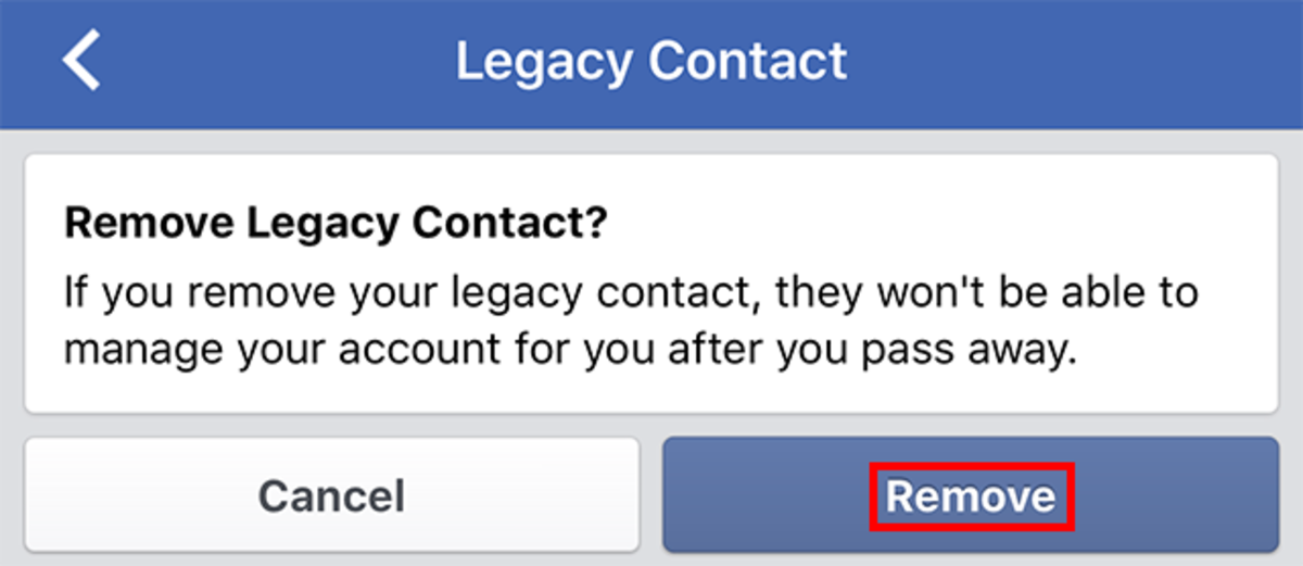 Your legacy contact can be removed and replaced at any time.