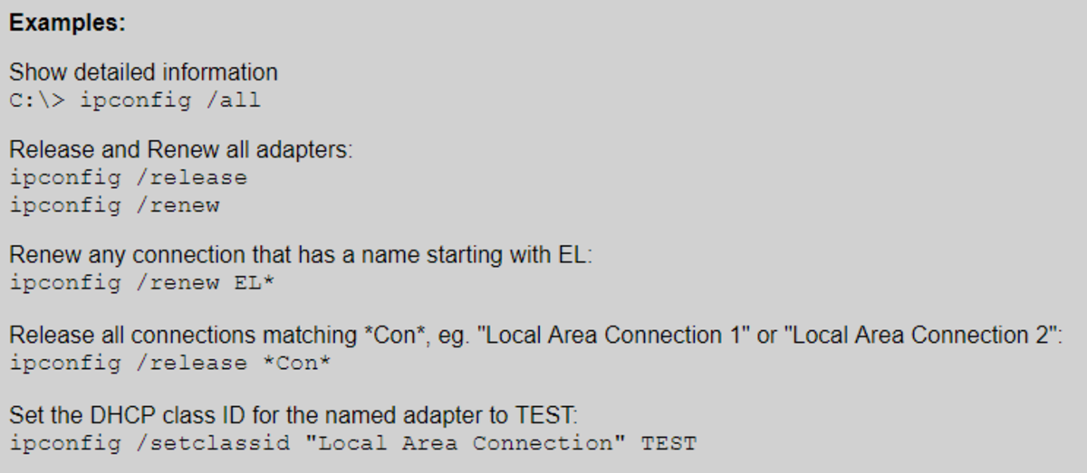Examples for the 'ipconfig' command on SS64