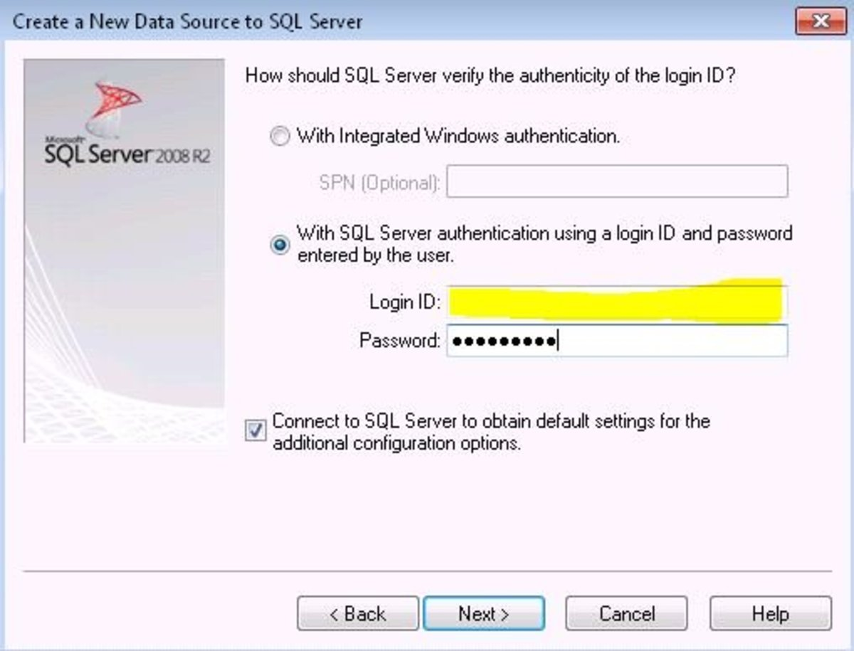 Provide SQL Server Authentication information