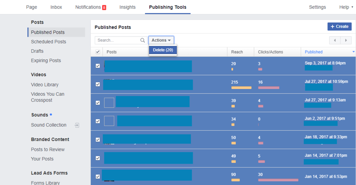 In a Facebook Page, you can delete up to 25 posts at once.
