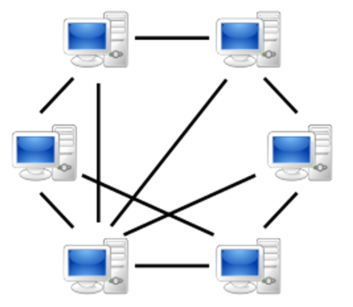 An example of a Peer-to-peer network.