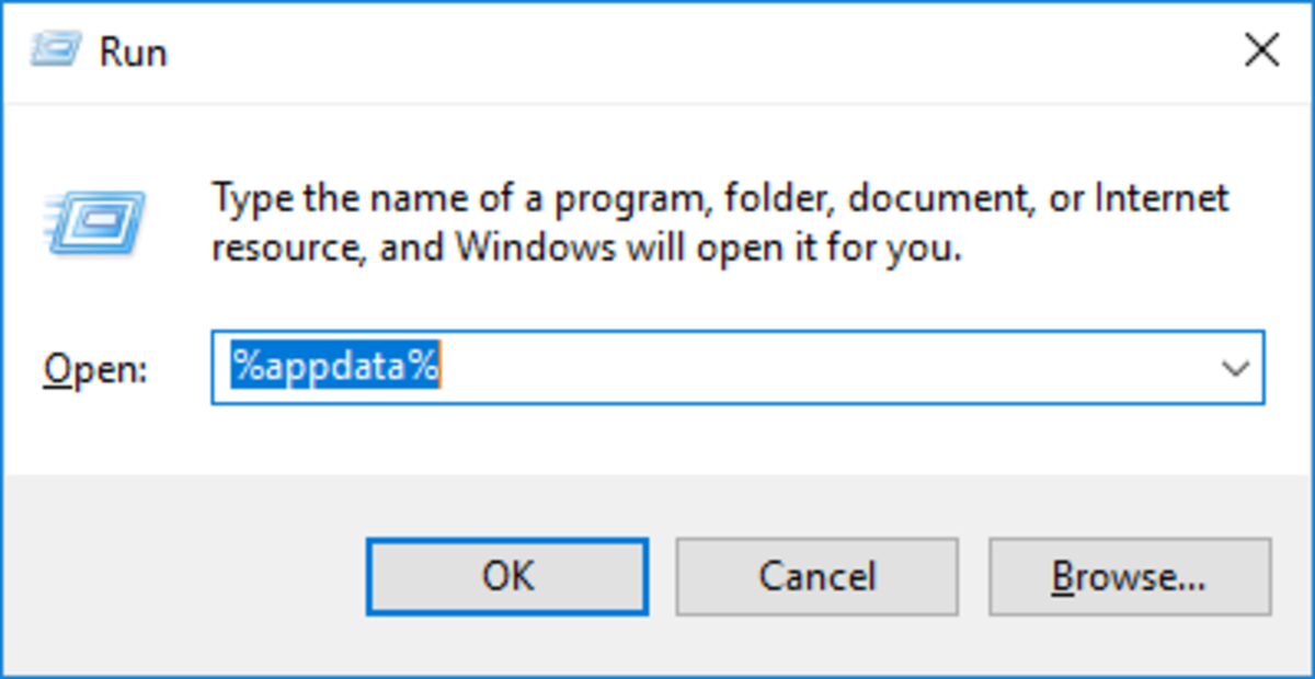 Entering %appdata% into Run command window