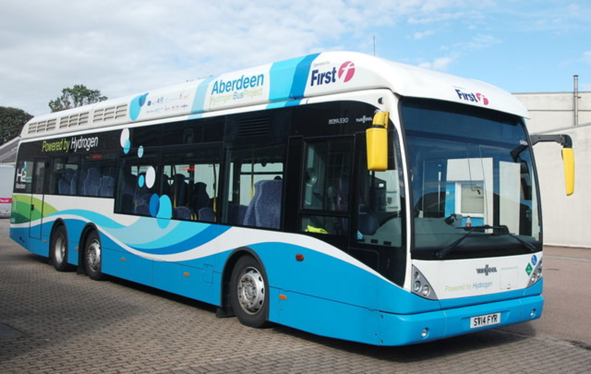 This is a hydrogen-fuelled bus in Aberdeen, Scotland. It completes its entire daily route on one fill up.