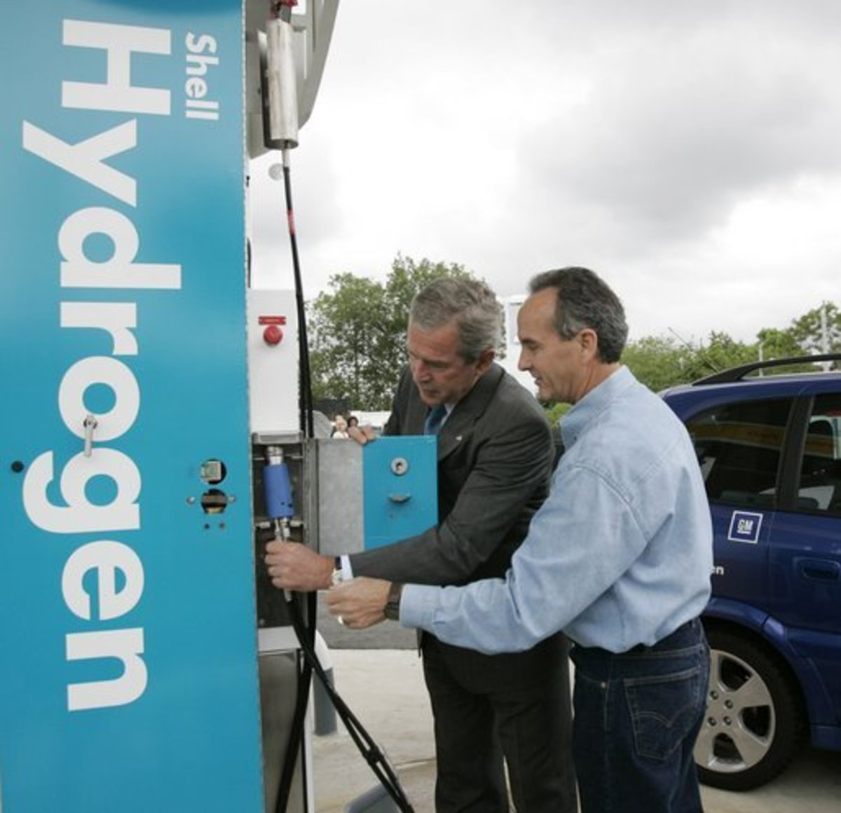 President George W. Bush checks out a hydrogen refuelling station in 2005.
