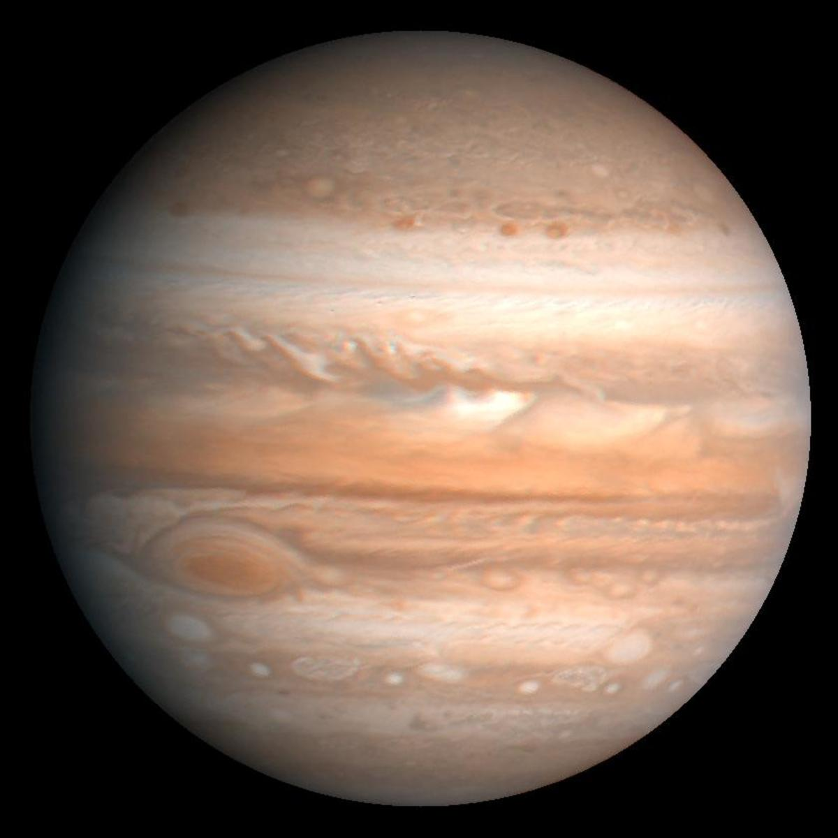 The gas giant Jupiter is made up of mostly hydrogen and helium.