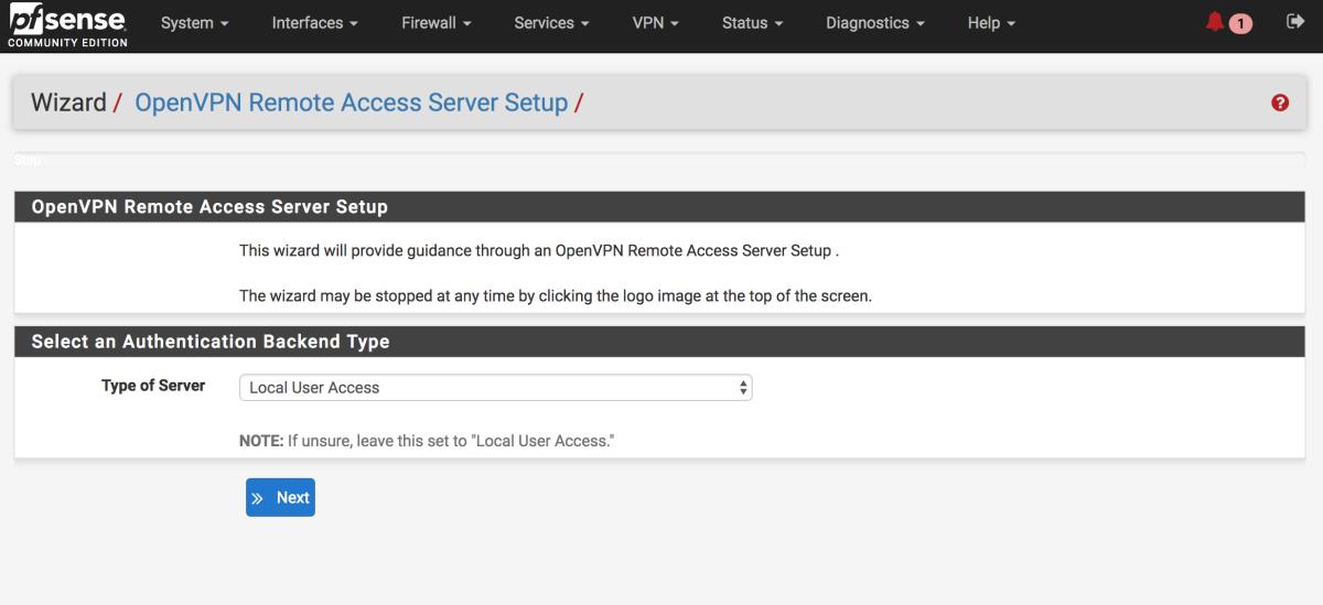 PfSense OpenVPN setup wizard.