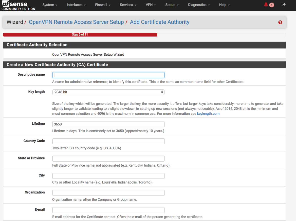 Create a new certificate authority to generate certificates for the OpenVPN server.