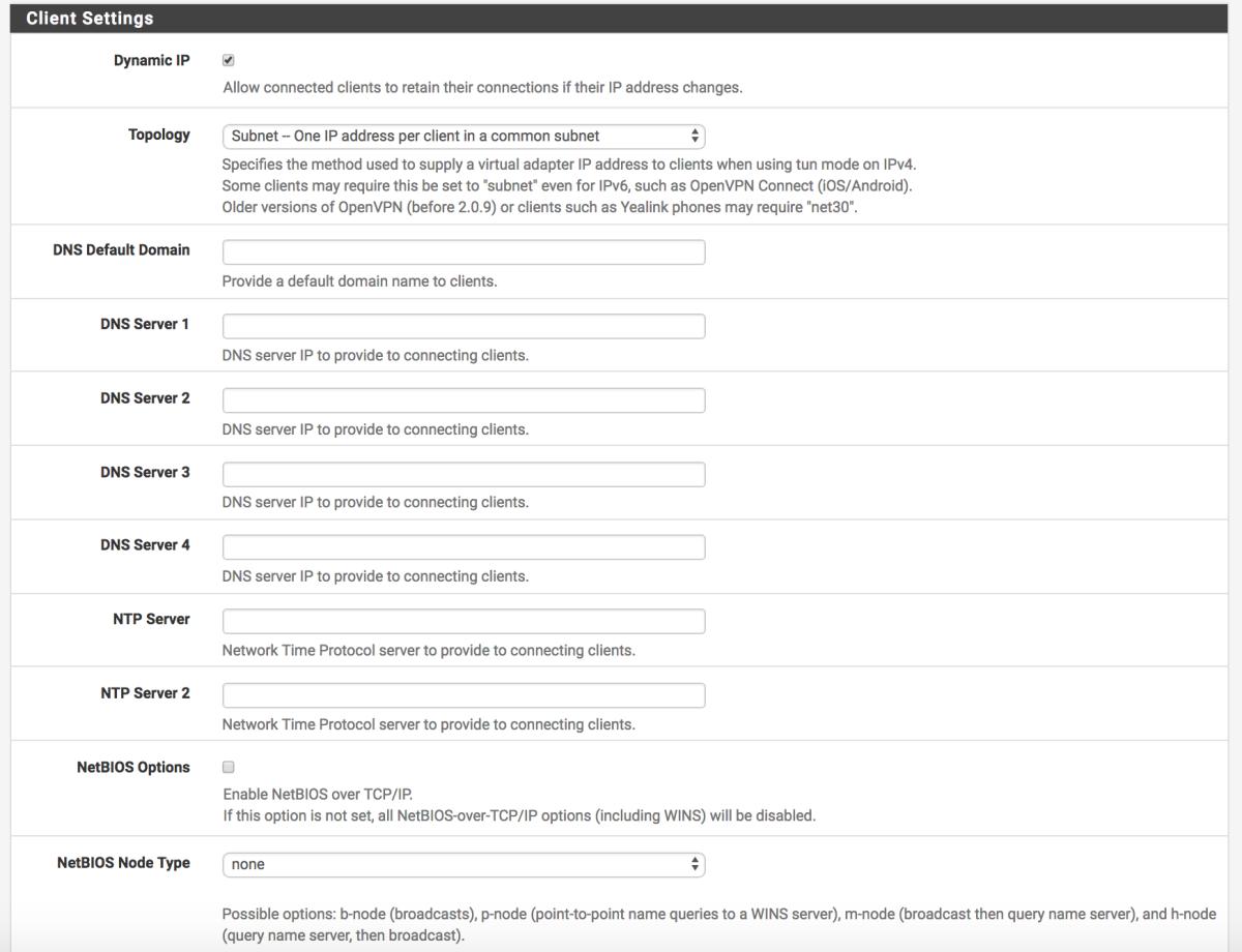 OpenVPN client configuration options.