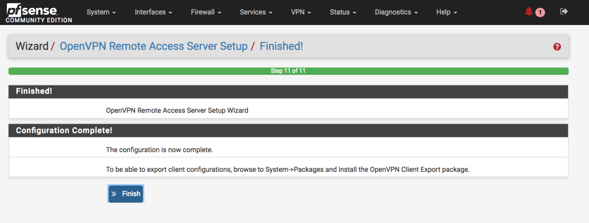 OpenVPN wizard completion.