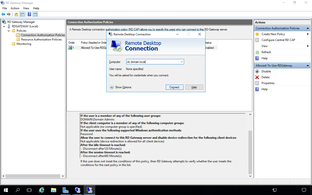 How to Setup a Remote Desktop Gateway Windows Server 2016