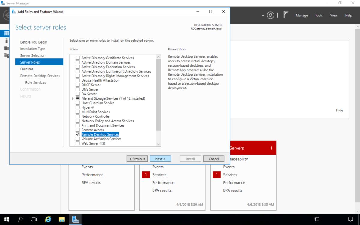 Select Remote Desktop Services then click Next
