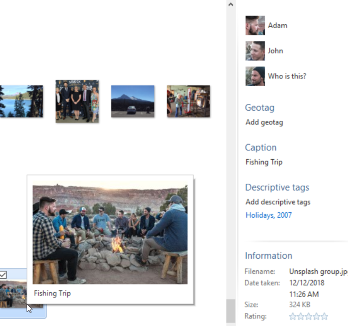 Photo Gallery metadata display