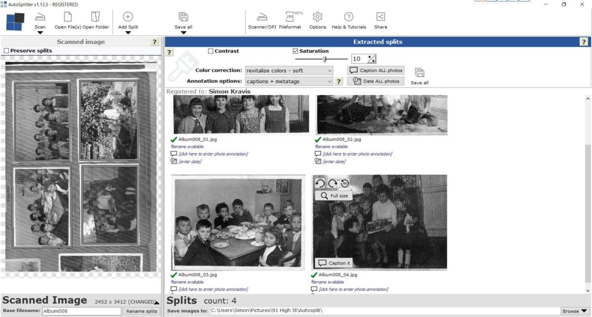 AutoSplitter Screen showing scanned photo album page