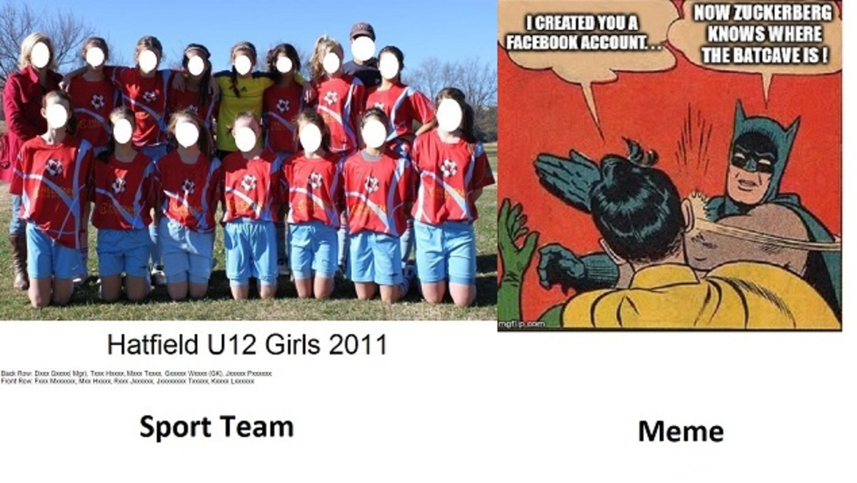 Examples of text on photos - adding names to a team photo (left) and a successful meme (right)