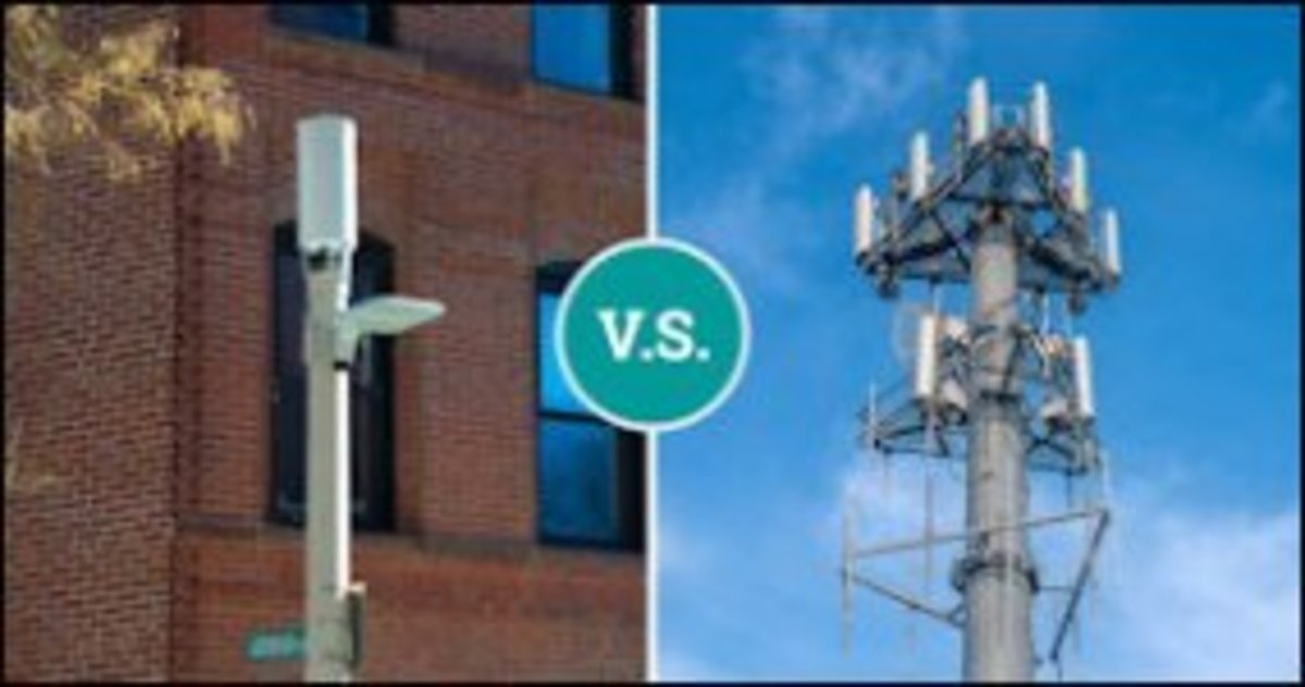 A 5G wireless tower will fit on a light pole to serve a local neighborhood, instead of a massive tower that serves a large area.