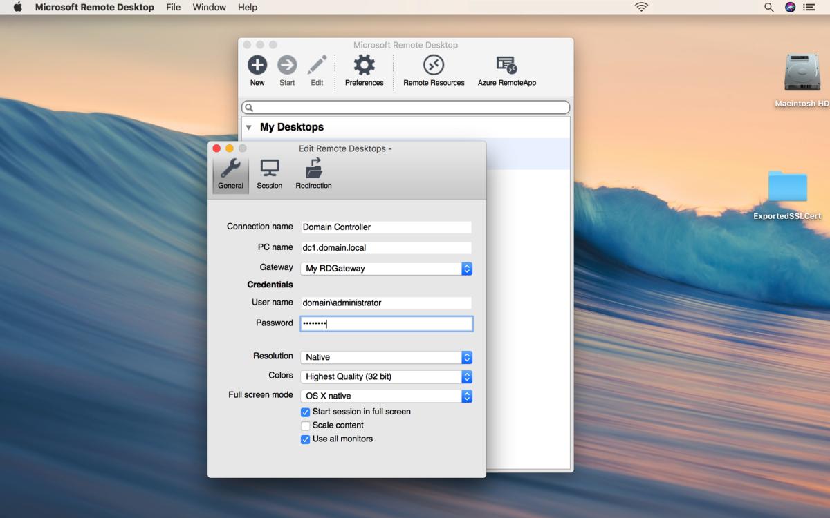 How to Configure a Remote Desktop Client to Use a Remote Desktop