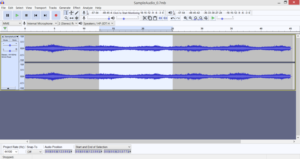 I have selected part of a sound file I opened.