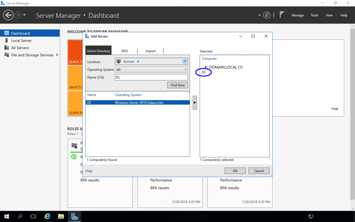 When selected, the server is displayed on the right hand side. Repeat for the other servers to be managed
