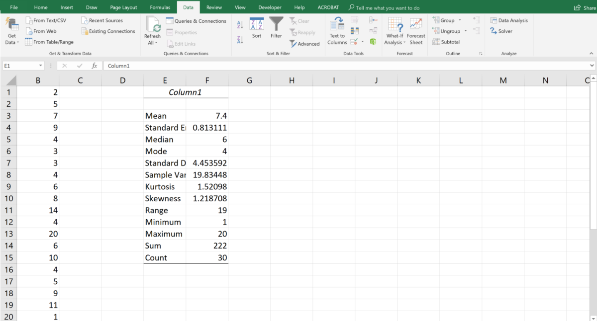 The Descriptive Statistics tool displays 13 statistical results so you can make a quick analysis. .