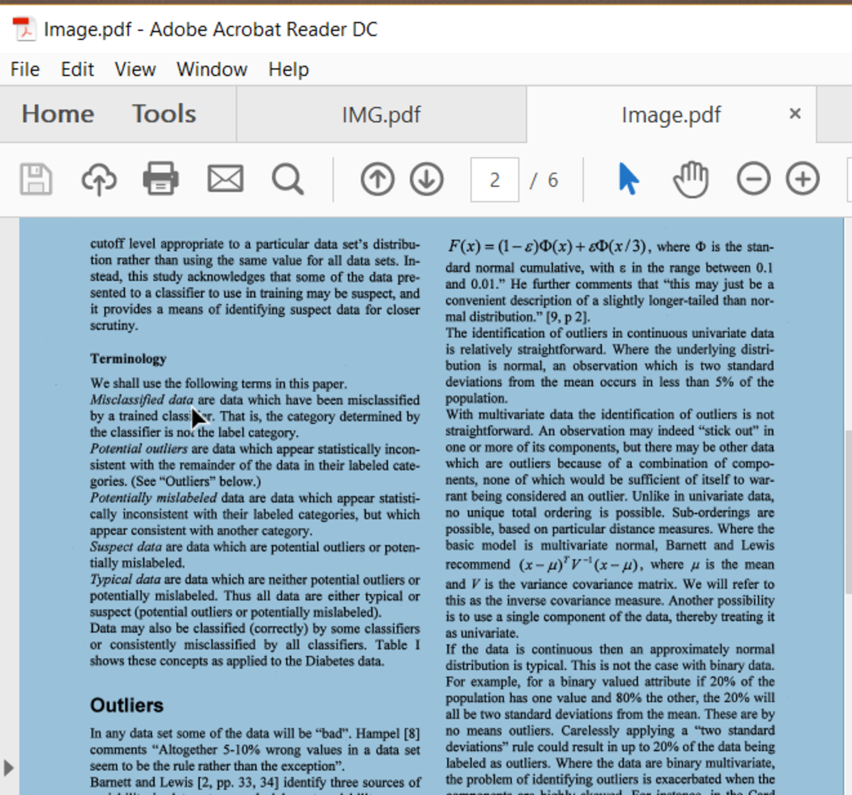Result of Clicking on a PDF File Containing Only an Image of Text