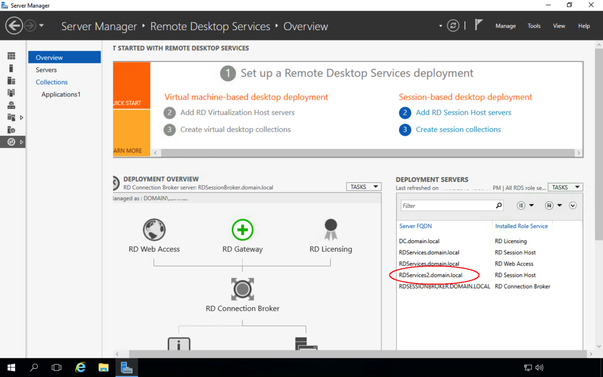 You should now see RDSERVICES2 added to the Deployment Servers