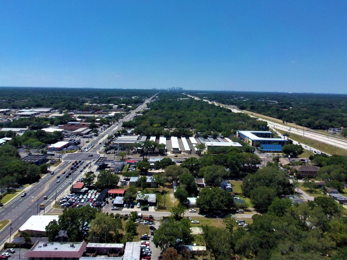 This is a still shot from the Breeze 4K. North Tampa looking toward South Tampa at 78 meters altitude.